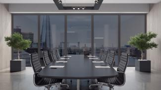 Halio at its tinted state in a boardroom