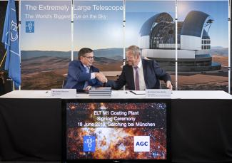 the Signing ceremony for the coating plant for mirrors for the Extremly Large Telescope of ESO.