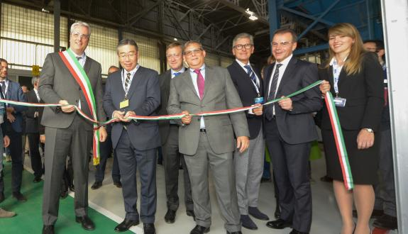 T Shimamura, AGC Group President and CEO, cutting the ribbon at Cuneo plant (IT)